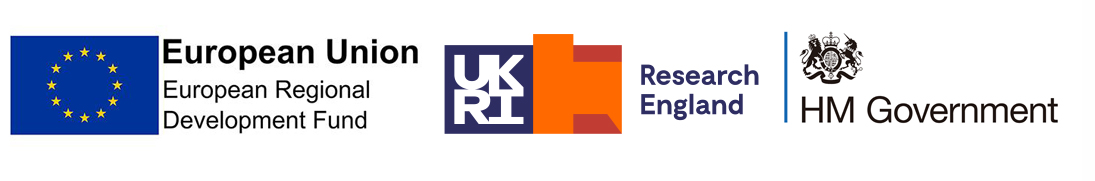 ERDF logo, Research England logo and HM Government logo