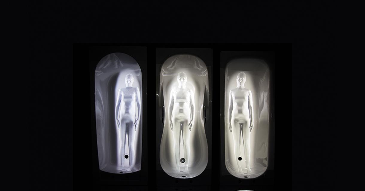Three illuminated figures.