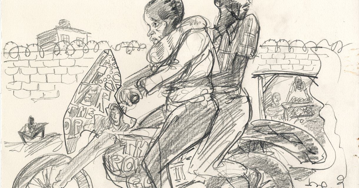 Pencil sketch of two figures on a motorbike