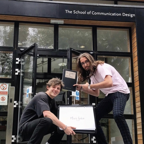 Max and Jake outside the School of Communication