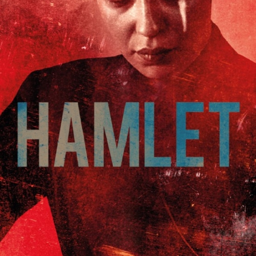 Hamlet poster image with person on a red background