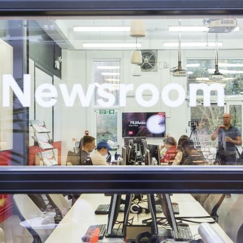 Newsroom window