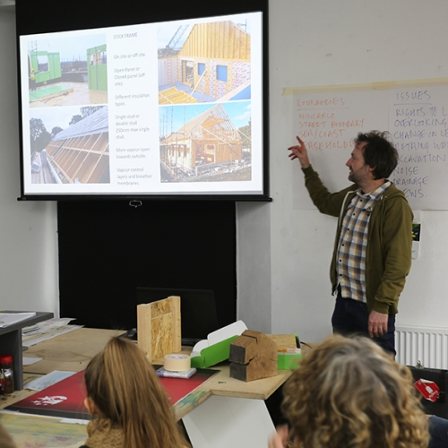 Tom Jubb presenting to BA Architecture students