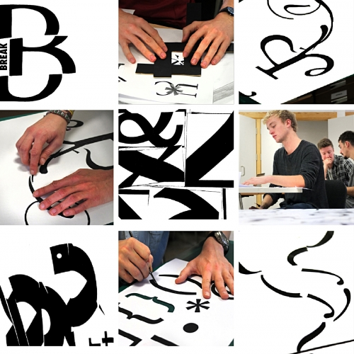 Collage of black and white typography created in workshop.