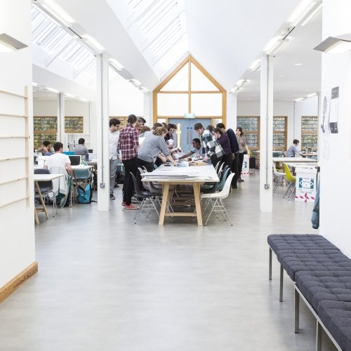 The bright and airy interior of the graphic design studio on Falmouth campus.