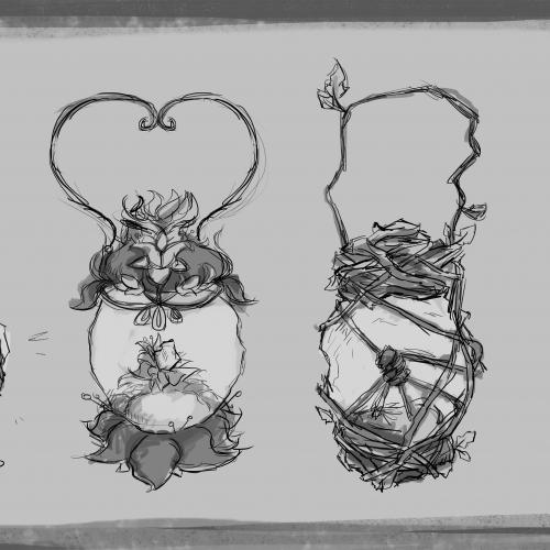 Sketched drawings of lanterns.