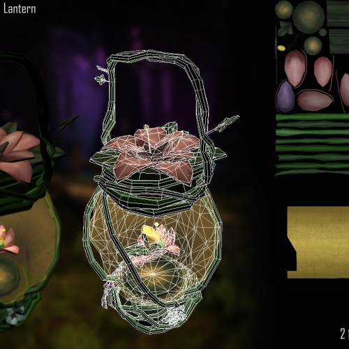 Digital artwork and components of lantern with pink flowers on the top.