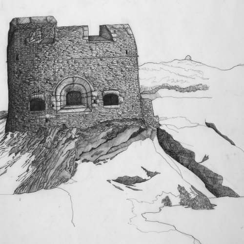 Detailed grayscale drawing of castle.