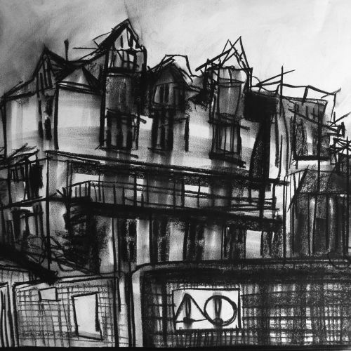 Charcoal drawing of building.