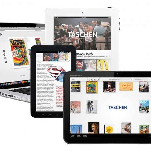 Several digital devices with various imagery on for Taschen.