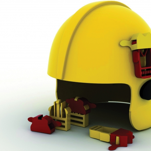 Yellow helmet design with red attachments.
