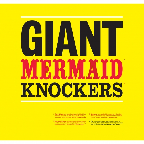 yellow poster image with text: Giant mermaid knockers