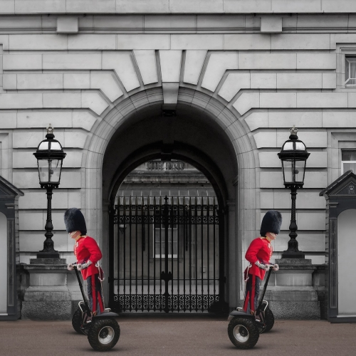 Two of the Queen's guards on segways