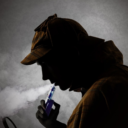 Silhouette of a man with a vape and magnifying glass