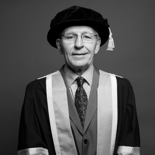 Falmouth honorary fellow Professor Alan Livingston CBE FCSD in academic gown.