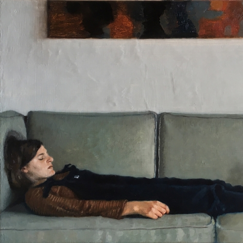 Painting of a girl lying on a sofa