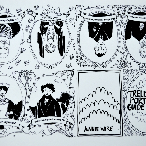 Black and white illustrated portraits leaflet for Trelissick.
