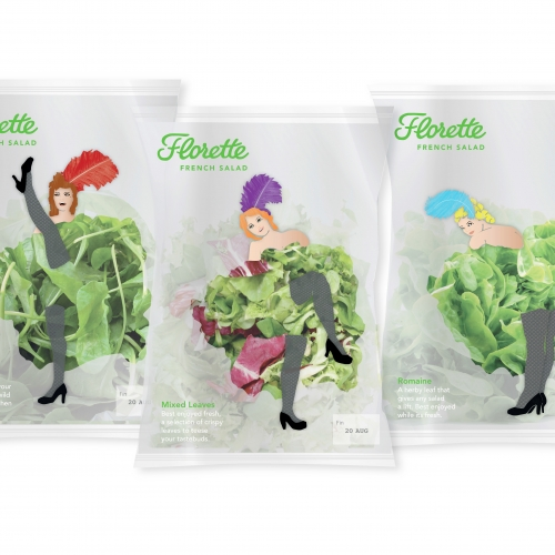 Salad bags with can can dancers on and salad for skirts.
