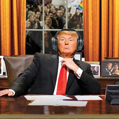 Bose headphones advert Donald Trump wearing headphones and slogan Hear what you want to hear