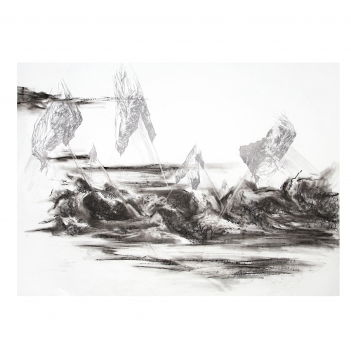Grayscale detailed drawing of landscape.