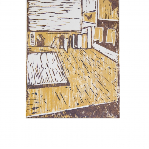 Linocut print in yellow and brown of room interior.
