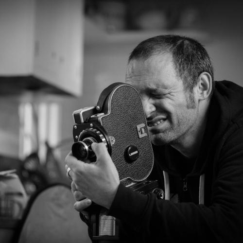 filmmaker Mark Jenkin on set
