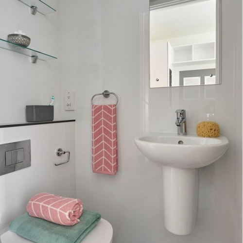 Small bathroom interior with toilet, sink and mirror