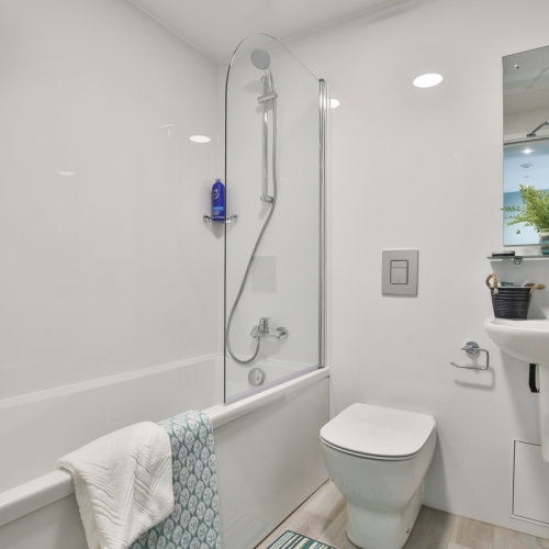bathroom interior with toilet, bath and shower
