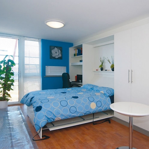 Bedroom interior with double bed and plant