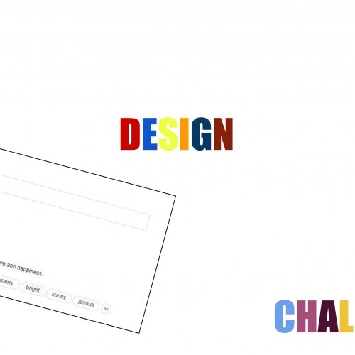 Poster image with Joyful Design Challenge written in colourful writing