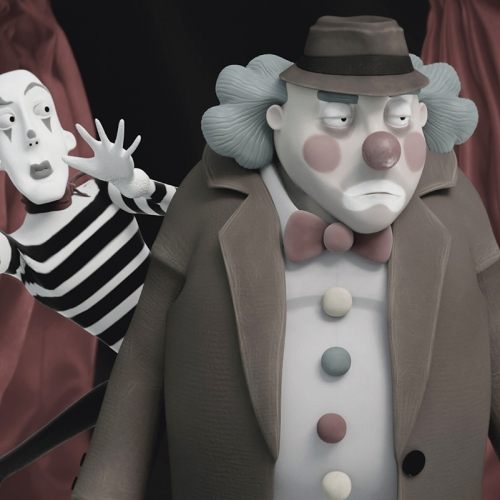 Animation of mime artist behind a grumpy clown