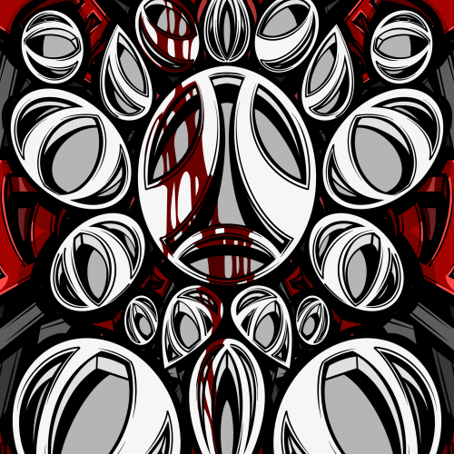 White and grey circles on a red background illustration