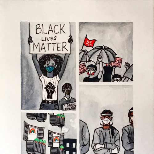 Poster illustration with people protesting