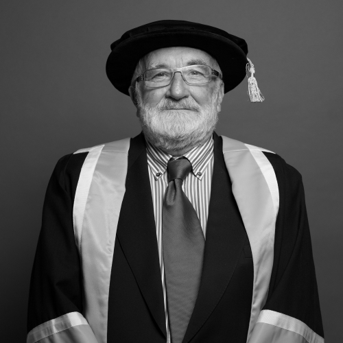 Falmouth honorary fellow Charles Hancock in academic gown.