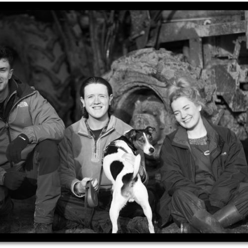 three people and a dog on film set