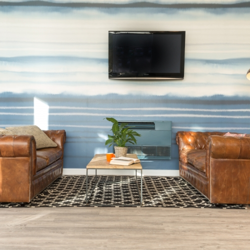 Two leather sofas with a coffee table and TV