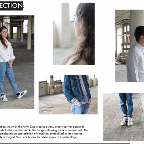 Mood board of models in various denim items.