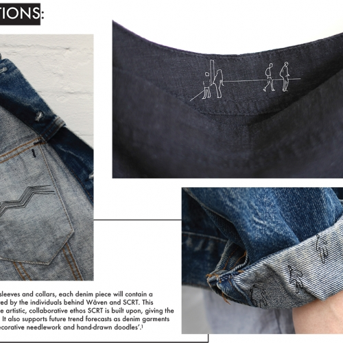 Details of inside denim jacket and illustrated sewing on cuff.
