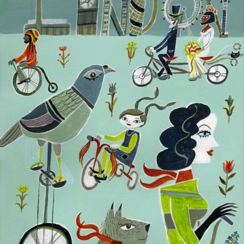 Artwork of London city scape with people on bikes