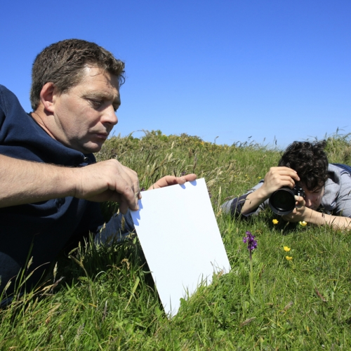 Student lying in grass with camera taking photo of wildlife with assistant holding white board to reflect light.