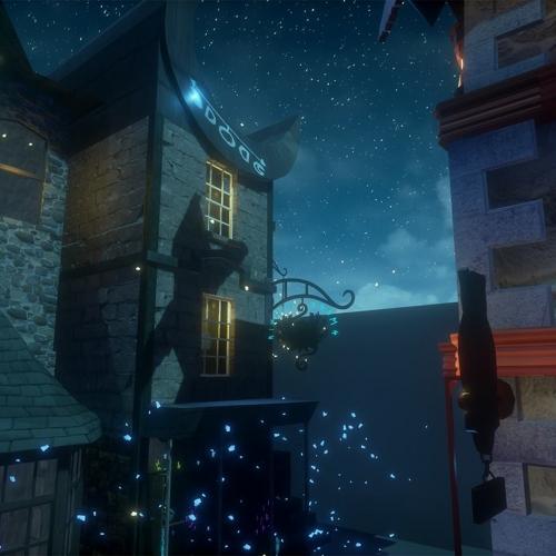 Street scene digital illustration of alleyway at night time, stars in sky.