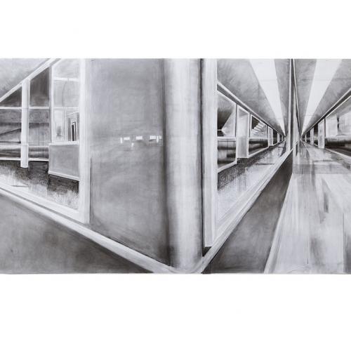 Pencil drawing of glass corridor