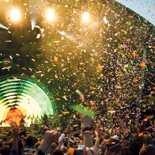 Dome stage at the Eden project, confetti flying through the air at a Flaming Lips gig.