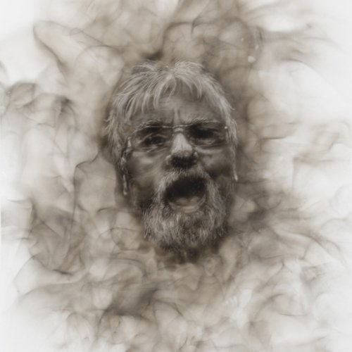 Detailed drawing of bearded man with mouth open and smokey effect framing his face