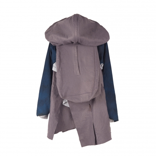 Grey and navy hooded jacket with built in backpack.