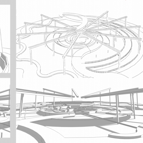 Architectural drawings of circular building