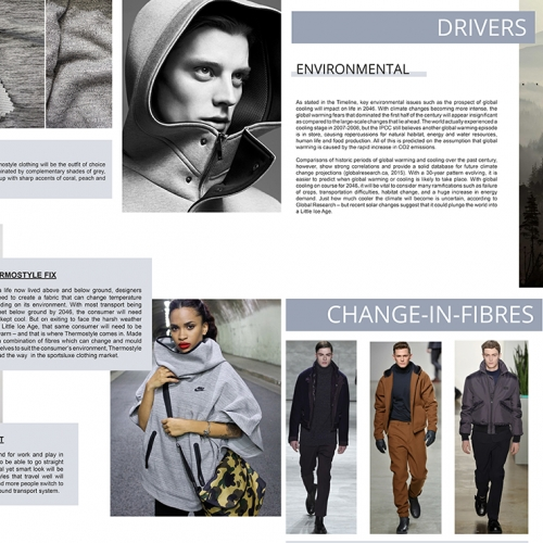 Sportswear mood board, fabric samples, atmospheric forest image, models in trendy urban sportswear.