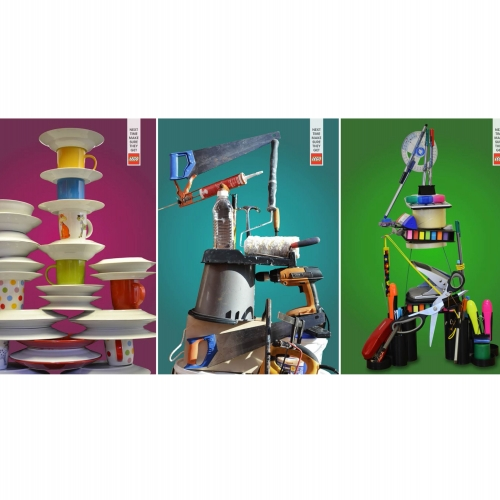 Piles of household items set on various coloured backgrounds for Lego advert.