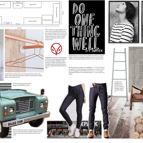Mood board, shop layout, industrial shelving, jeans, brown leather chair.