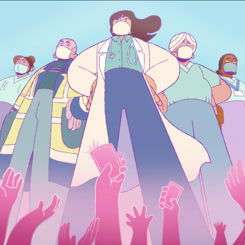 Screenshot from the animation - key workers